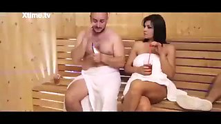 Woman cheating on her husband in the sauna