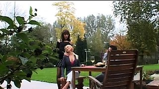 Smashing hotties hard drilled in wild foursome dressed xxx