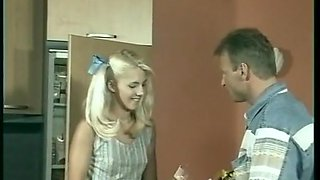 Vintage college girl Dina Pearl takes care of her daddy
