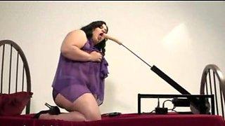 overweight dark brown masturbating with machine
