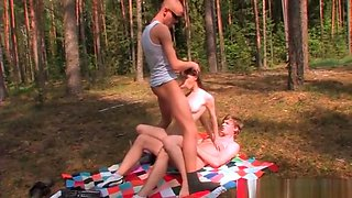 Young Beata seducing two cocks