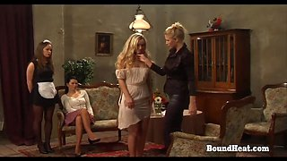 On Consignment 3 Lesbian Slave Pleasures Herself For Dominant Mistress