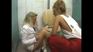 Blondy has been abused by gang in toilet