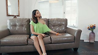 Petite chick Harmony Wonder seduces her well endowed step brother