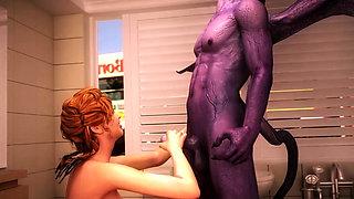 Demons from Hell fuck big tits beauty. 3D Porn Cartoons