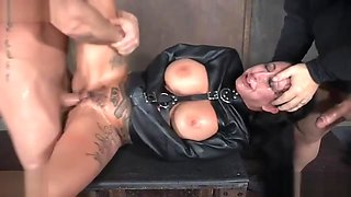 Two aggressive dudes fuck busty tattooed whore Lily Lane