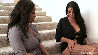Ebony milf Aryana Adin gets intimate with one sex-hungry white housewife
