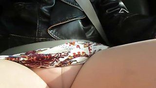 Cute boots, little dress, pantyhose in car not porn just fun