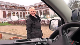 nerdy blonde MILF Luci gets penetrated hardcore in a car