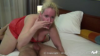 Blonde chokes on a big load of thick cum