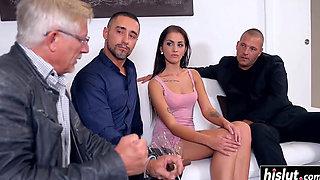 Hot babe pleasures two hard cocks