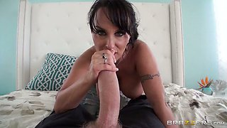 Mega busty brunette MILF gives steamy tit fuck to her boy