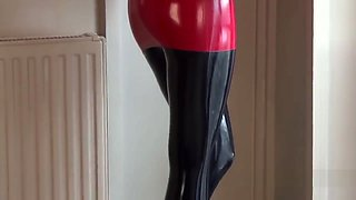 Latex dress and pantyhose