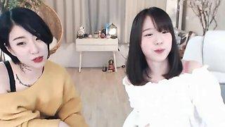 Korean teen lesbians show their big tits