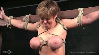 Busty bitch Dee Williams gets punished and whipped in the dungeon