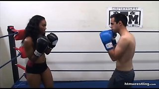 Femdom boxing beatdown wimp gets smashed