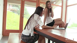 Smoking hot Lily Klass and another girl know how to masturbate together