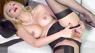 Blonde Milf strips off black lingerie fingering in nylons