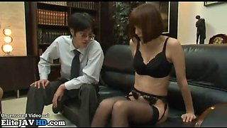 Japanese busty secretary rough sex with new boss