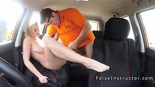 Busty blonde made instructor cum in car