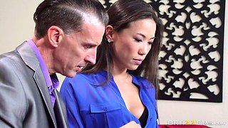 Asian brunette cheats on her hubby by fucking her strict boss
