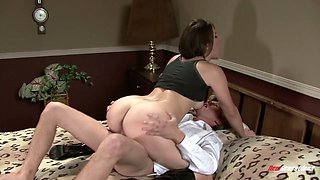 Young brunette has an affair with her husband's friend