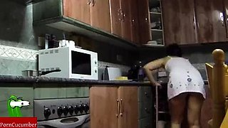 fucking in the kitchen and she swallows it uploaded