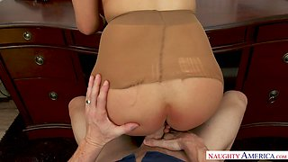Bosomy fabulous blonde MILF Kylie Page is absorbed with riding dick