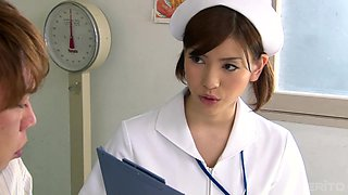 Nurse Yuria Ashina gives him unexpectedly steamy cock licking