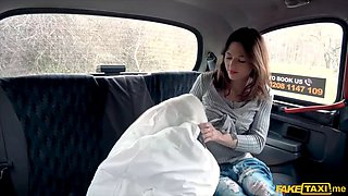 thin french chick with small tits gets fucked in a cab