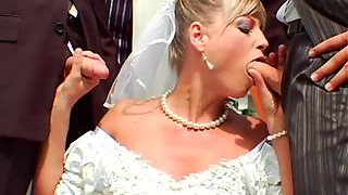 Slutty bride gangbanged outdoors