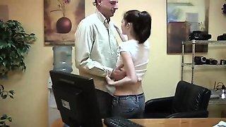 SLIM Brunette at Boss Office (part 1)