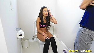 latina blows in the toilet
