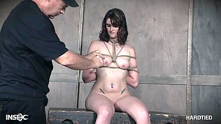 Brunette teen slave Sosha Belle ball gagged and abused in a dungeon