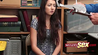 divine teen with round tits feels a big penis at the office