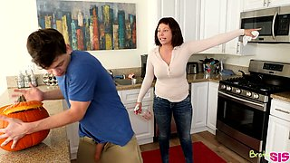 Always sex-starved chick Aubrey Sinclair fucks her step brother under stepmom's nose