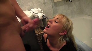 German babe gets fucked in toilet