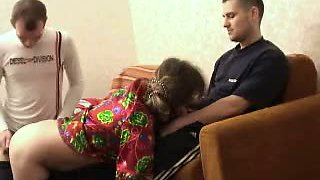 Drunk aunt fucked by guy and his friend