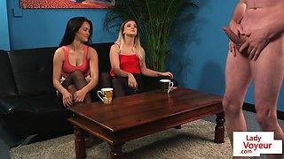 Classy beauties instruct naked sub