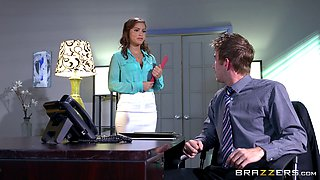 Sweet secretary wants the boss with a huge dick to fuck her