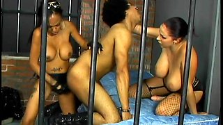 Gorgeous Prison Guards Pegging A Guy With A Big Strap On
