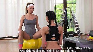 Lesbians in hotpants tribbing at gym