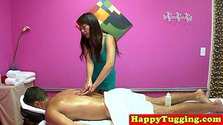 Smalltit asian masseuse jerks oiled dick
