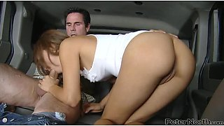 Beautiful Melanie Rios gets fucked and facialed in the car