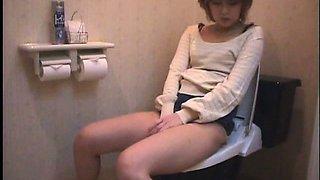 Solo Japanese Girl Dorm Toilet Onanism