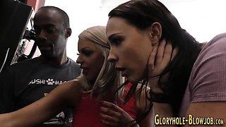 Gloryhole threeway slut