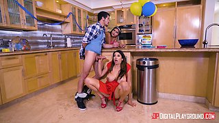 Missy Martinez takes off her red dress for a cock bouncing game