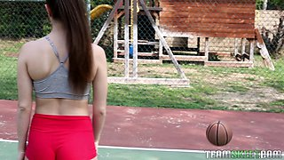 Pretty girl worshiping cock and fucking on the basketball court
