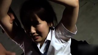 Adorable Asian schoolgirl in uniform gets used by horny guys