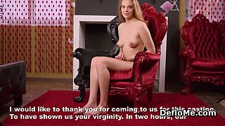 Innocent blonde virgin takes off nice dress at casting